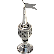 Vintage Perfume holder Tower Sterling Silver Migdal Besamim Spice box.
