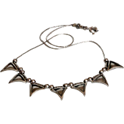 Vintage Sterling Silver Necklace 7 triangular all marked 925 pendants Modernist jewelry.