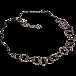 Vintage Modernist Necklace Sterling Silver jewelry,Hammered flat O links