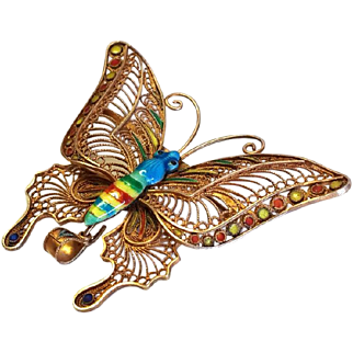 Vintage Filigree Enamel Gilt Butterfly Brooch Large Silver 925 Gilded Pin