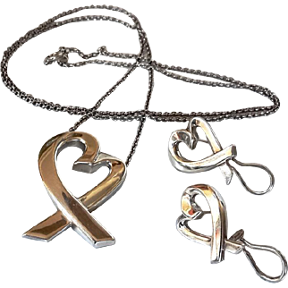 Tiffany & Co Paloma Picasso Loving Heart Necklace & Earrings Set Large Sterling Silver
