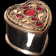 Solid Silver Heart shaped Vinaigrette. Hallmarked for Sweden, maker: Ingemar Lilja, city of Karlskrona, year 1815