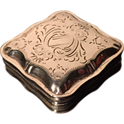 Dutch Solid Silver Pill Box. 1876