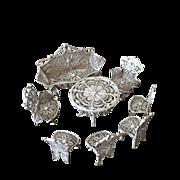 SALE Solid Silver antique Miniature Dolls Furniture Set. Hallmarked Filigree 8 pcs