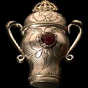 Danish Solid Silver Vinaigrette Hovedvandsaeg. ca 1850