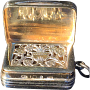 Solid Silver Vinaigrette. Matthew Linwood Birmingham 1819