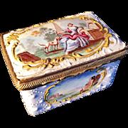 Stunning Battersea Bilston enamel box, c1770, England.