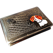 Solid Silver Cigarette Etui or Box, with Enamel. Italy before 1934