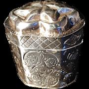 Large Dutch solid silver Lodderein Vinaigrette Box 1862.