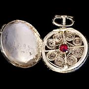 "Solid Silver Pendant Vinaigrette  G. Thulin, Halmstad, Sweden 1855. ""Anna"""