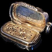 Solid Silver Pendant Vinaigrette. David Pettifer, Birmingham 1852