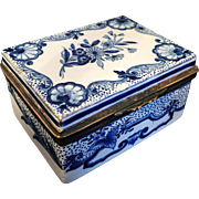 18th C Faience Porcelain Table Snuff Box. Marked.