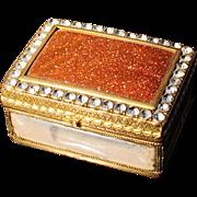 Very Rare Venetian Bronze Goldstone Lapis Lazuli Handpainted Box. 18th C