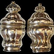 Two Danish Rococo Vinaigrette Hovedvandsaeg. Solid Silver.  Hallmarked c 1770s.