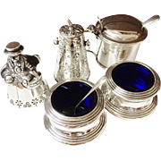 Lot Dinner Table items. Solid Silver. Dinner Bell, Salts, Mustard Pot, Shaker, Spoons. Excellent!