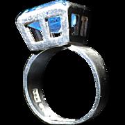 1969 Modernist Bengt Hallberg Sterling Silver Blue Stone Ring. Size 3