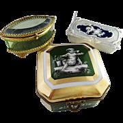 3 c 1890-1910 Trinket Boxes. Mansard Paris Sevres