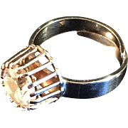 1970s Modernist Bengt Hallberg adjustable Sterling Rock Crystal Ring. Scandinavian Sweden