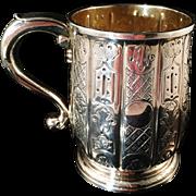 Important Antique 1730 Edward Feline London Sterling Silver Beer Jug, small Tankard. Superb