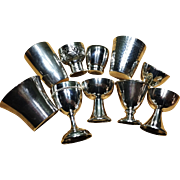 10 Vintage Shot Liquor Beakers Solid Silver incl Georg Jensen. Excellent.