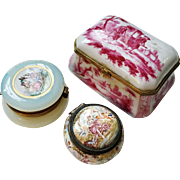 3 Antique French Opaline Glass Enamel Porcelain Box Jewelry Casket. Marked. Beautiful.