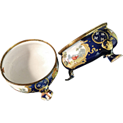 Pair of 18th c Battersea Bilston Enamel Salts. Beautiful.