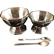 PROVENIENS. Antique Solid silver Chinese Export Salt and Pepper trays. K.O. Silversmith's Tsingtao Qingdao 1890-1915. With original Spoons.  椒鹽盤 青島
