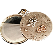 French Art Nouveau Solid Silver Mirror Pendant. Excellent. Gilded or Gold.
