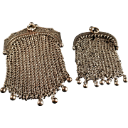 Pair of French La Belle Époque Solid Silver Pendant Purses. Hallmarked. c 1900