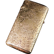 Large Antique French Solid Gilt Silver Etui Case c 1870s. Stunning decoration. Hallmarked.