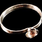 Swedish Modernist ALTON 1978 Sterling Silver Bracelet with White Stone.
