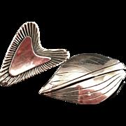 2 Old Vintage Modernist Sterling Silver Brooches. Very Rare Per Sköld for A. Michelsen, 1954 and Hermann Siersbol, Denmark.