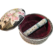 Large Antique Sterling Silver Pin Cushion Casket and Bead Work Needle Case. Fabulous.