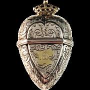 """Stunning Oversized Solid Silver Vinaigrette """"Hovedvandsaeg"""". Denmark mid 1700s. Heart shaped Pendant."""