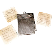 French 1899 Sterling Silver Carnet de Bal Note Book Pendant with Pencil. Stunning.