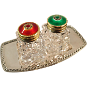 David Andersen Norway Enamel Gilt Sterling Salt & Pepper Shakers w Original David Andersen Sterling Tray. Superb.