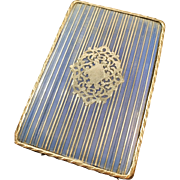 Antique French La Belle Epoque / Victorian Silver Inlay Sewing Needle Case Cover.