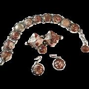 Set Sterling Silver and Porphyry Bracelet and Earrings maker Stenlya Sweden 1957.