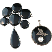 Antique Sterling Silver and Onyx Mourning Brooch, by Samuel Pettersson, Linköping, Sweden 1890