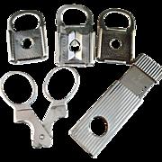 5 Hallmarked Silver Cheroot Cigar Cutters.