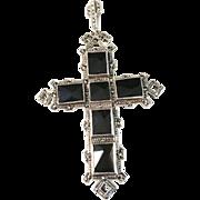 Norwegian 1950s Albert Scharning Solid Silver w Black Stones Large Pendant.