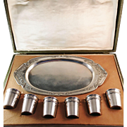 6 French Sterling Silver Shot Beakers. c 1900. La Belle Epoque. In original case. Excellent.