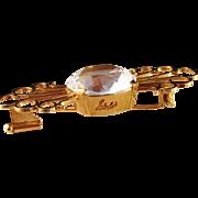Stunning 18K Gold Old Vintage Heribert Engelbert, Stockholm, 1948 Brooch with large Rock Crystal. Signed.