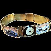 Early Vintage David Andersen, Norway Enamel Sterling Silver Bracelet. Probably his most sought after design. Excellent.