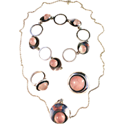 Stunning Niels Erik From, Denmark Vintage 1950s Sterling Silver Set. Ring, Brooch, Pendant Necklace, Bracelet.