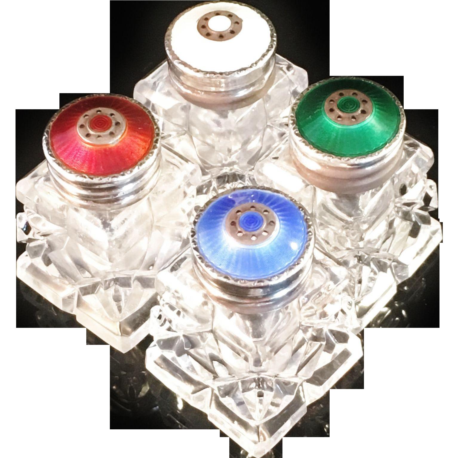 Beautiful vintage salt cellars set of 4 - 4 Vintage David Andersen Norway Enamelled Sterling Silver And Glass Salt Shakers