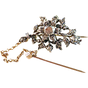 Stunning Antique early 1800s c 0.45ct old cut and fancy cut diamonds, silver and 14k gold Brooch Garnet Pin. Very rare. Hallmarked