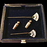Vintage 1962 18K Gold and Enamel Stick Pins. Playing Cards Poker. Lagerström, Stockholm, Sweden.