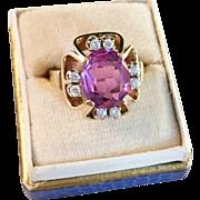 Vintage Cocktail Ring 14k Gold, 0.16ct Diamonds and large 5ct Sapphire (prob. enhanced/synthetic). Maker Kjeld Jacobsen, Copenhagen, late 1950s