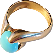 Art Nouveau 1919-1939 Latvia (before the Soviet occupation) 14k Gold and Turquoise Ring. Excellent